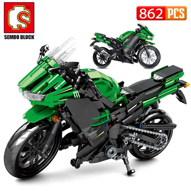 SEMBO City Off-road Motorbike MOC Model Building Blocks Creator Technic Racing Car Motorcycle Bricks Gifts Toys For Children